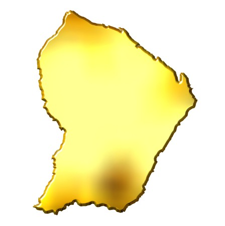guiana: French Guiana 3d golden map isolated in white