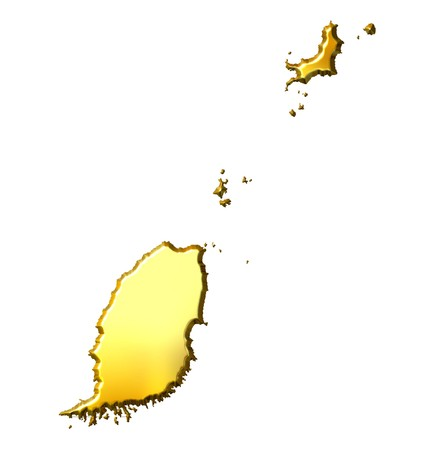 shinning: Grenada 3d golden map isolated in white