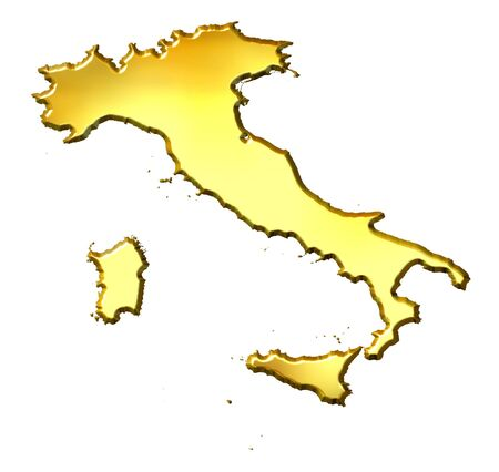 shinning: Italy 3d golden map isolated in white Stock Photo