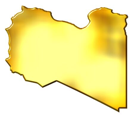 libyan: Libya 3d golden map isolated in white Stock Photo