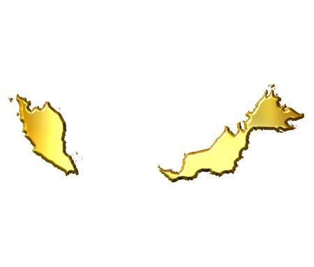 Malaysia 3d golden map isolated in white Stock Photo - 4578742