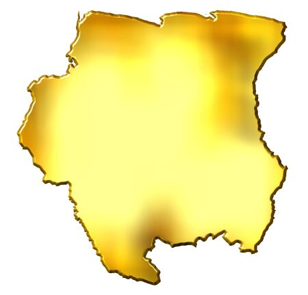 suriname: Suriname 3d golden map isolated in white Stock Photo