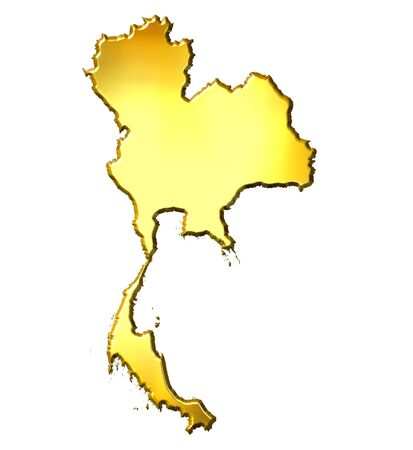 siam: Thailand 3d golden map isolated in white