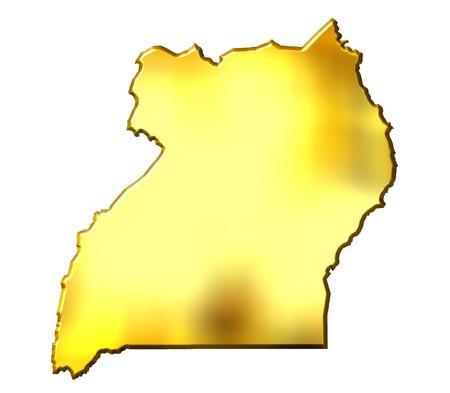 uganda: Uganda 3d golden map isolated in white