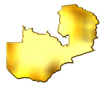 zambian: Zambia 3d golden map isolated in white Stock Photo