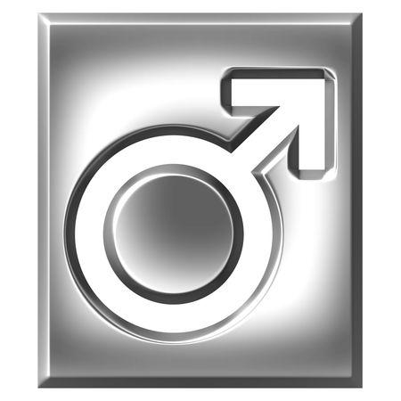 3d silver male symbol sign photo