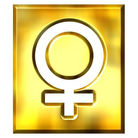 3d golden female symbol sign isolated in white photo