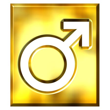 3d golden male symbol sign isolated in white photo