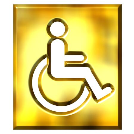 crippled: 3d golden special needs sign isolated in white