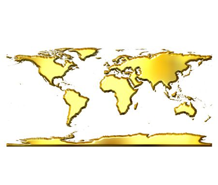 3d golden world map isolated in white photo