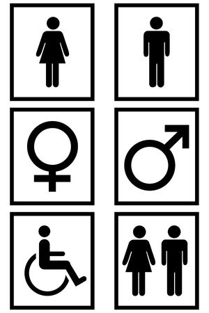 Gender signs isolated in white