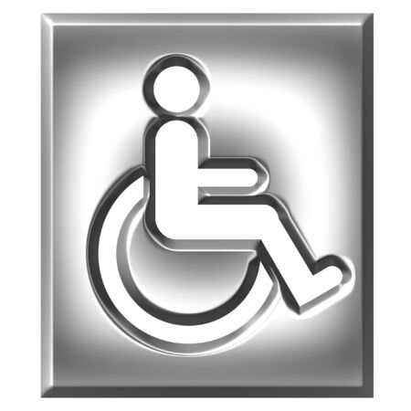 crippled: 3d silver special needs sign isolated in white Stock Photo