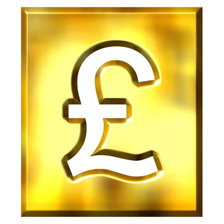 gb pound: 3d golden framed pound sign isolated in white