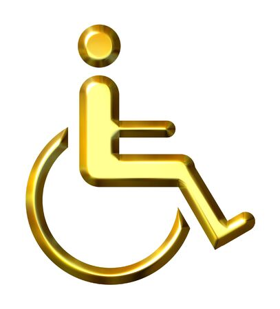 accessibility: 3d golden special needs symbol isolated in white