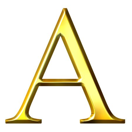 alpha: 3d golden Greek letter alpha  Stock Photo
