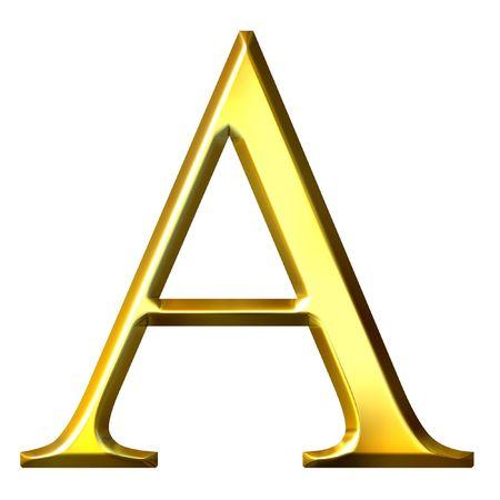 3d golden lettera greca alfa