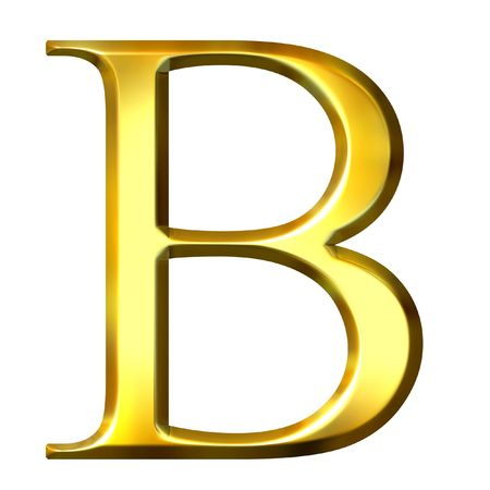alphabet greek: 3d golden Greek letter beta