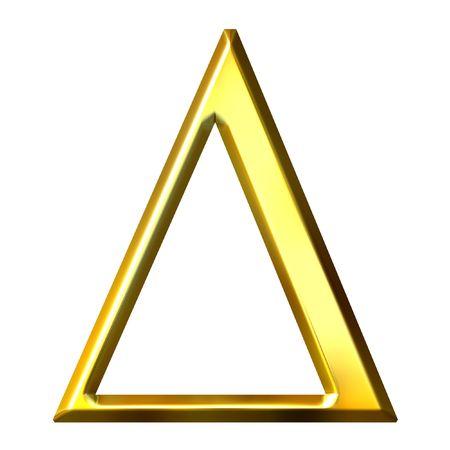 greek alphabet: 3d golden Greek letter delta  Stock Photo