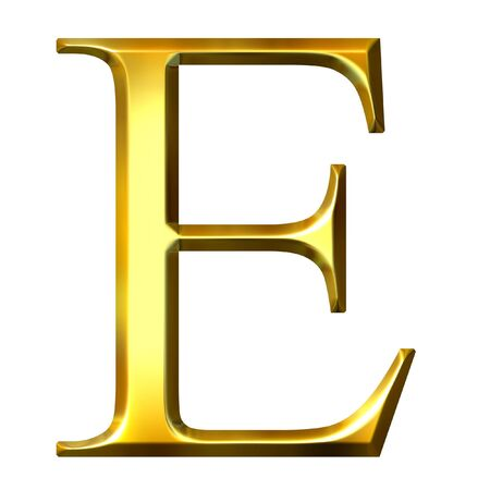 3d golden Greek letter epsilon