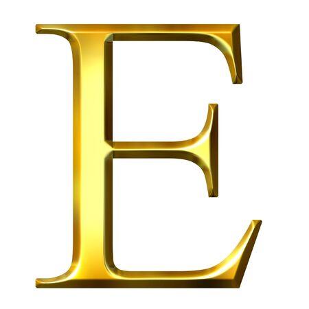 alphabet greek symbols: 3d golden Greek letter epsilon