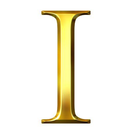 3d golden Greek letter iota photo