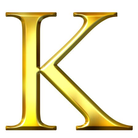 alphabet greek symbols: 3d golden Greek letter kappa  Stock Photo