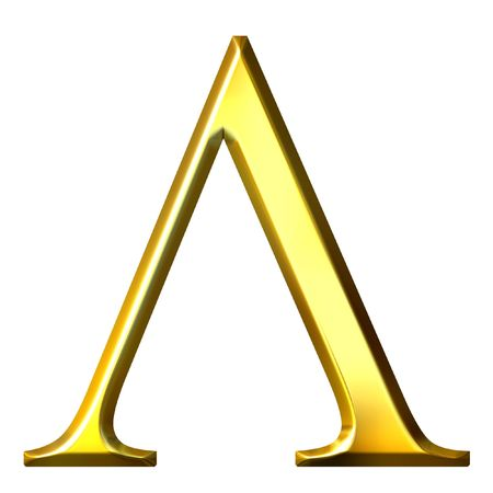alphabet greek symbols: 3d golden Greek letter lambda  Stock Photo
