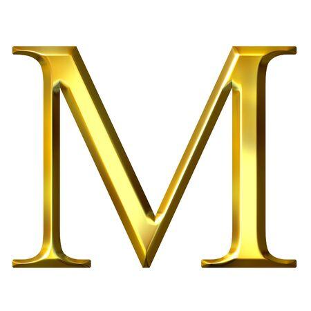 alphabet greek symbols: 3d golden Greek letter my