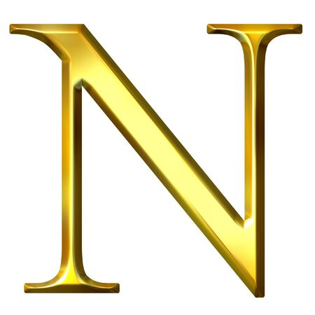 ny: 3d golden Greek letter ny