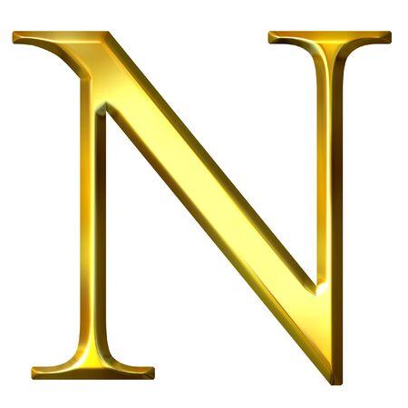 alphabet greek: 3d golden Greek letter ny
