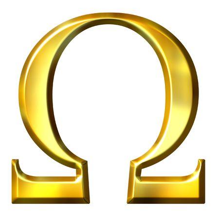 alphabet greek: 3d golden Greek letter omega