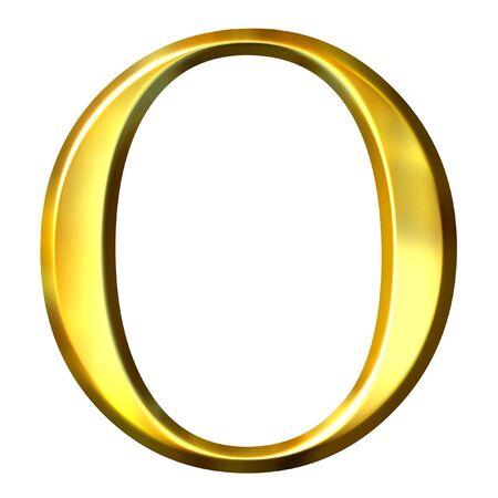 3d golden Greek letter omikron