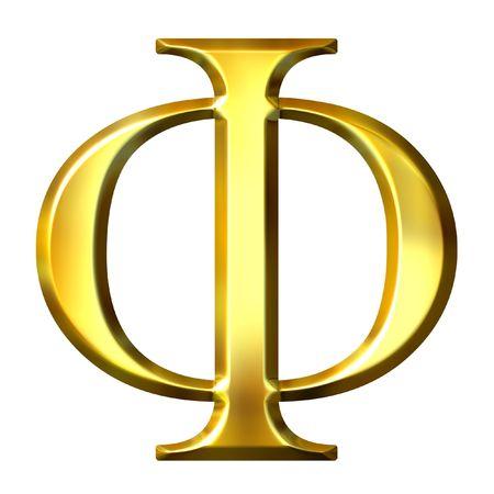 alphabet greek: 3d golden Greek letter phi  Stock Photo