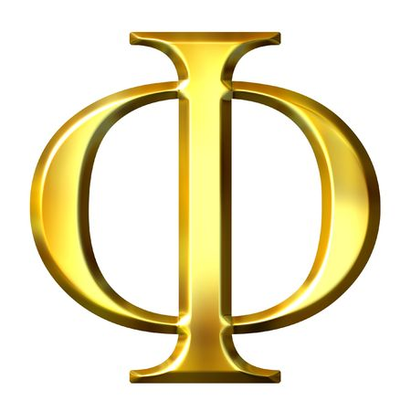 historical reflections: 3d golden Greek letter phi  Stock Photo