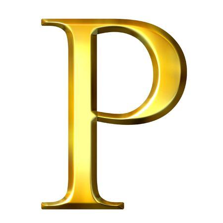 3d golden Greek letter rho