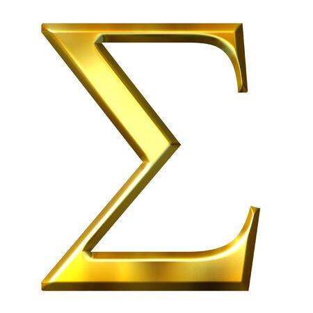 alphabet greek symbols: 3d golden Greek letter sigma  Stock Photo
