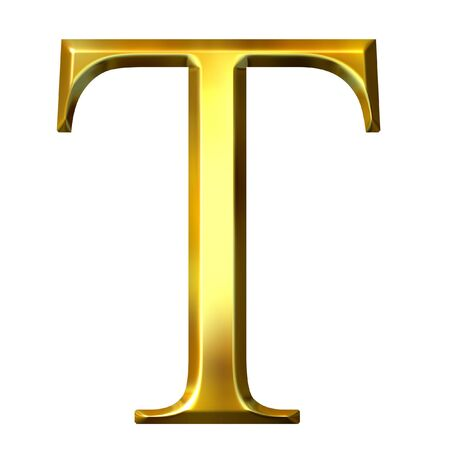 alphabet greek symbols: 3d golden Greek letter tau Stock Photo