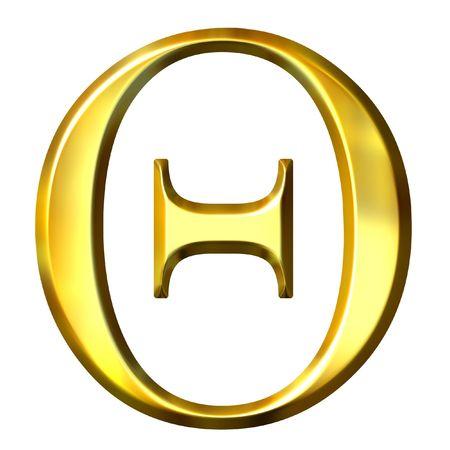 3d golden Greek letter theta  Stock Photo