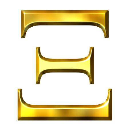 alphabet greek symbols: 3d golden Greek letter xi