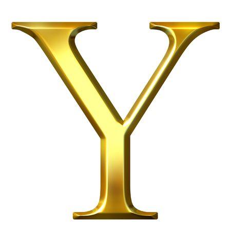 3d golden Greek letter ypsilon  Stock Photo