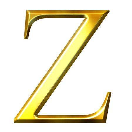 alphabet greek symbols: 3d golden Greek letter zeta