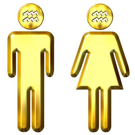 3d golden Aquarius man and woman  photo