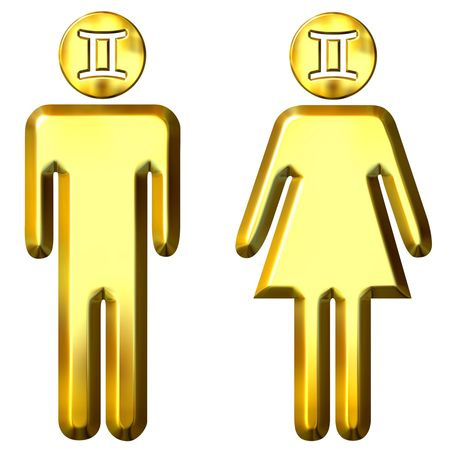 3d golden Gemini man and woman  photo