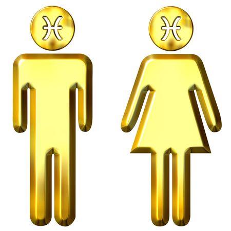 3d golden Pisces man and woman  photo