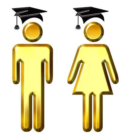 3d golden graduates  photo