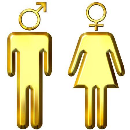 3d de oro masculina y femenina Foto de archivo - 4695468
