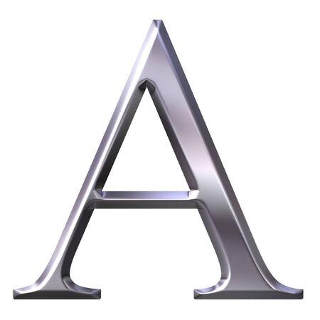 3d plata letra griega Alfa