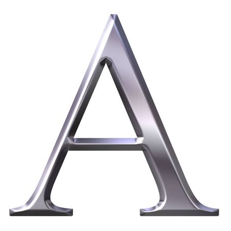 ancient greek: 3d silver Greek letter Alpha  Stock Photo