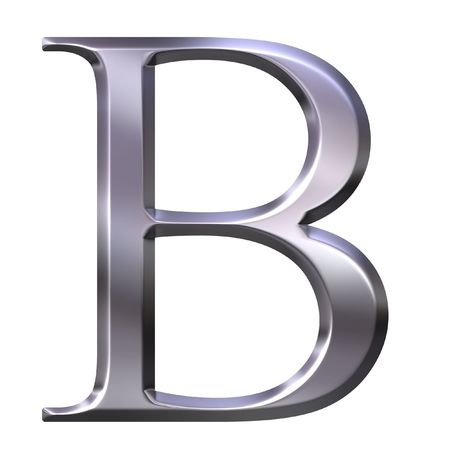 3d silver Greek letter Beta  photo