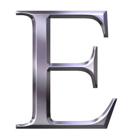 3d silver Greek letter Epsilon photo